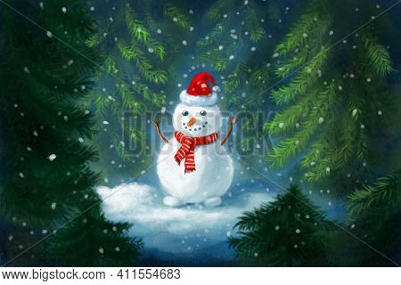 Illustration Of A Snowman In The Winter Forest During A Snowfall. Magical Bright Christmas Winter Il