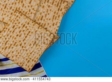 Traditional Symbols Of Jewish Holiday Matzo With Passover Bread