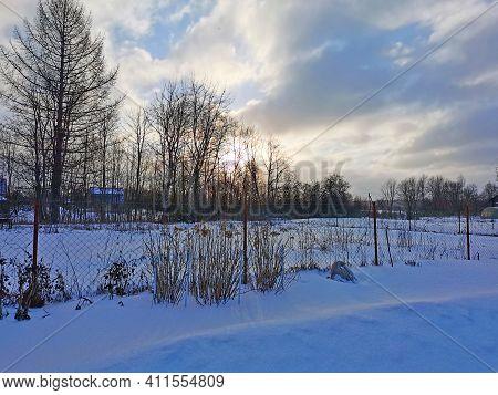 Winter Landscape Russian Village Frosty Day In Winter