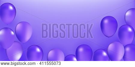 Violet Balloon Bunch. Vector Holiday Illustration Of Flying Violet Balloons. Birthday Or Other Holid