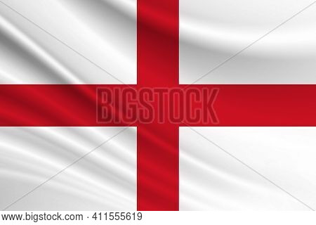 Flag Of England. Fabric Texture Of The Flag Of England.