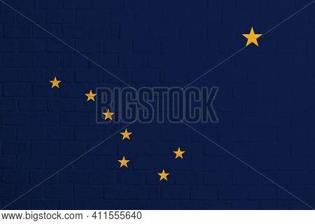 Flag Of Alaska. Brick Wall Texture Of The Flag Of Alaska.