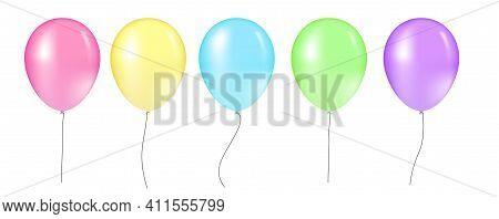 Balloon Set. Vector Illustration Of Shiny Colorful Glossy Balloons. Realistic Air 3d Balloons Isolat