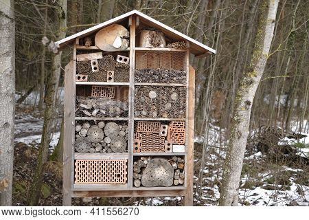 Insect House In The Spring Forest.ecology And Nature Conservation . Caring For The Environment. Inse