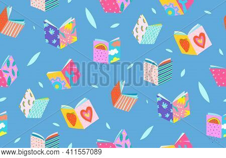 Book Covers Seamless Pattern Geometrical Background. Simple Colorful Hand Drawn Design For Reading B