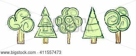 Creative Vector Set Of Trees Isolated On White Background. Hand-drawn Abstract Grunge Doodles Of Con