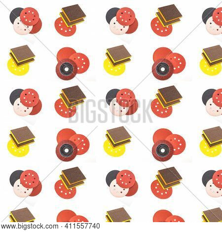 Abrasive Tools Seamless Pattern Isolated On White Background. Collection Of Industrial Seamless Patt
