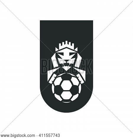 Football Club Logo Mockup, Black And White Sports Emblem T-shirt Print Negative Space, Lion Head Wit
