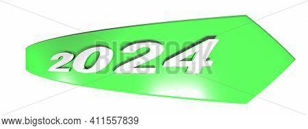 2024 Green Arrow On White Background - 3d Rendering Illustration