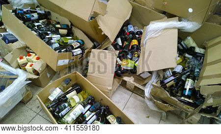 St. Petersburg, Russia - December, 2019: Cardboard Boxes With Glass Bottles Of Alcohol, Wine, Food O