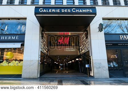 Paris, France. March 07. 2021. Entrance To The Shopping Mall On The Champs-elysées.