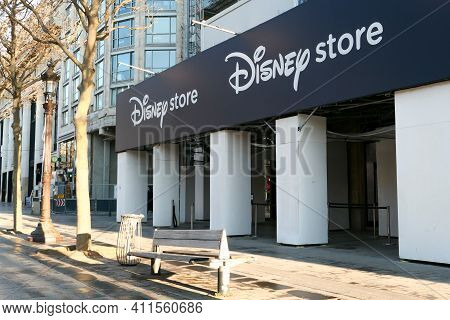 Paris, France. March 07. 2021. View On Disney Store On Champs Elysees Avenue.