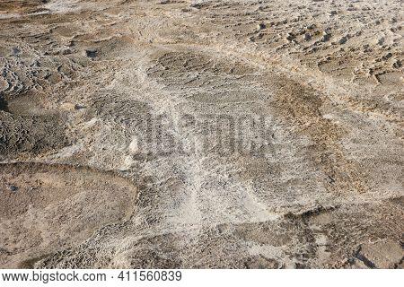 Limestone Travertine Surface At Pamukkale, Turkey. Travertine Pool Texture.