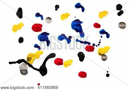 Colorful Ink Blobs Concept For Futher Editing. Red, Yellow, Blue, Black And Grey Blot Isolated On Wh
