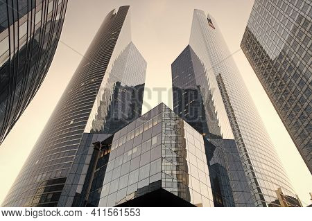 Paris, France - September 29, 2017: Modern Architecture Of La Defense. Tall Towers. Architectural De