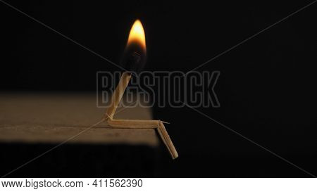 Match Stick Black Background Burning Wooden Stick Shiny And Lightning Wood Stick Born Fire And Ignit