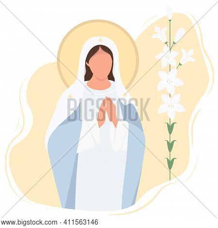 Holiday - Annunciation To The Blessed Virgin Mary. Mother Of Jesus Christ Pray Accepting The Good Ne