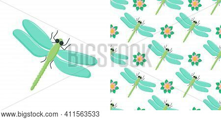 Dragonfly Colorful Seamless Pattern. Repeating Dress Textile Print With Damselfly Insects. Close Up