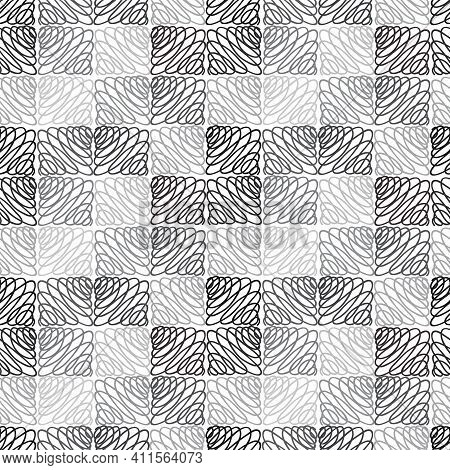 Abstract White And Black Seamless Pattern. Line Tile Graphic Pattern For Textile, Fashion, Print, Ti