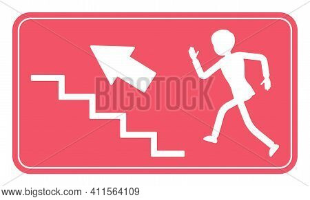 Emergency Upstairs Exit Sign, Red Safety Evacuation Indicator. Running Man Pictorial International R