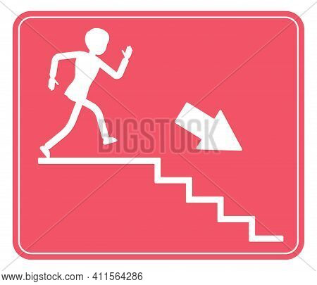 Emergency Down Stairs Exit Sign, Red Safety Evacuation Indicator. Running Man Pictorial Internationa