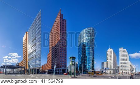 Panoramic View At The Potsdamer Platz Under A Blue Sky