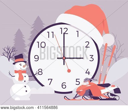Winter Time Design, Giant Round Clocks Symbol. Slippery Ice Cold Day With Sports Or Snow Activities,