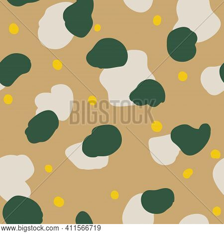 Seamless Pattern With Graphic Abstract Geometric Shapes. Simple Green, Olive, Gray, White, Yellow Do