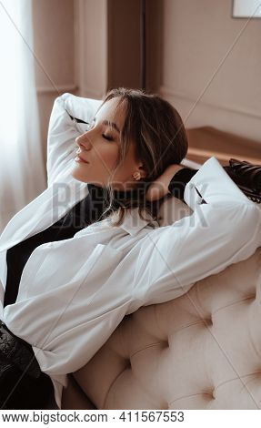 Girl In A Fashionable Color Combination Of Clothes. Blue And White. Natural Colors. Trend Of 2021. N