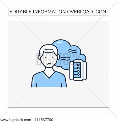 Data Smog Line Icon. Information Overload. Overwhelmed Individuals Brain And System. Unsatisfied Sit