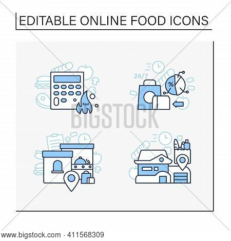Online Food Line Icons Set. Calories Calculator, Office And Home Delivery, Ready-made Ration. Shoppi