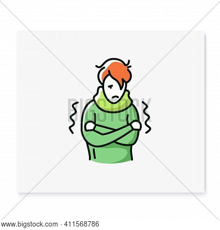 Fever Color Icon.chills, Feeling Feverish, Shaking Body.healthcare Concept. Isolated Vector Illustra