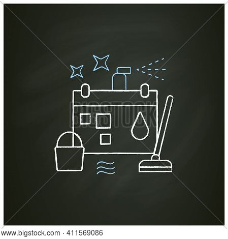 Holiday Cleaning Chalk Icon. Spring Cleaning. Sweeping, Wiping.cleanup Calendar, Schedule. House Mai