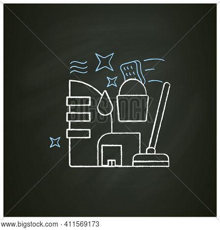 Commercial Cleaning Chalk Icon. Dirt Removal. Mopping, Sweeping, Wiping. Office Cleanup. Profitable
