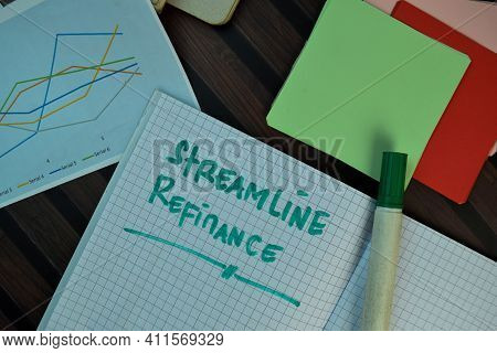 Streamline Refinance Write On A Book Isolated On Wooden Table.