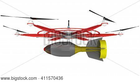 Unmanned Combat Aerial Vehicle (ucav) With Six Propellers With Air Bomb. 3d Illustration