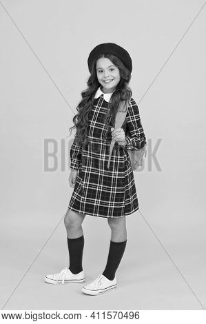 Back To School. Retro Girl Wear Uniform And Parisian Beret. Kid School Fashion. Cheerful Child Ready