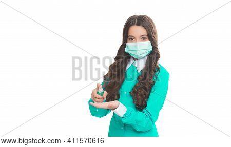 Girl Doctor Epidemiologist In Respirator Mask Using Preventive Hygiene Measure Against Coronavirus P