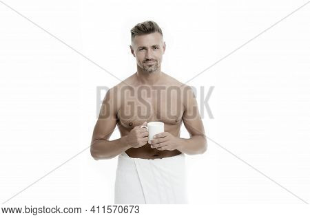 Morning Chill Out. Enjoying His Cappuccino. Man Drink Coffee Or Tea. Mature Man Hold Paper Coffee Cu