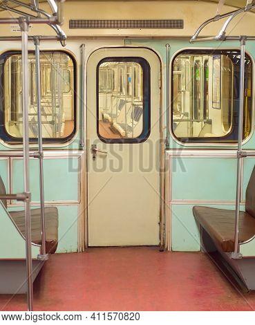 Interior Of Old Metro Underground Train. Saint Petersburg, Russia