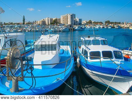 Motorboats In Marina Of Larnaca In Bright Sunshine. Cyprus