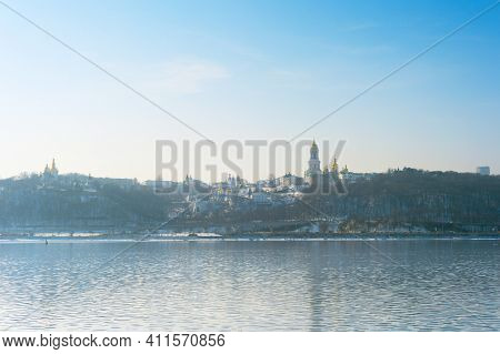 Kyiv Pechersk Lavra Also Known As The Kyiv Monastery Of The Caves And Dnipro River In The Spring. Uk