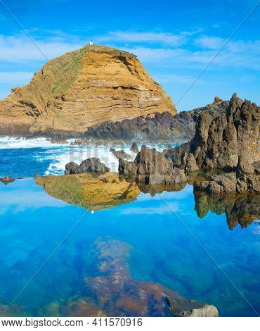 Bathes In Natural Lava Ocean Pools. Lava Pools Are The Main Attraction Of Madeira.