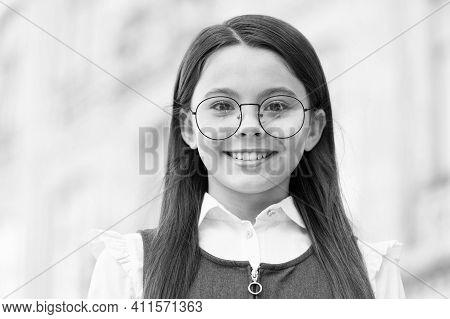 Happy Child Wear Round-framed Eye Glasses And Formal Fashion Uniform Knowledge Day, Look. School Edu