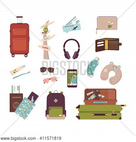 Big Set Of Tourist Items For Vacation. Luggage Icons For Travel And Hike. A Collection Of Objects An