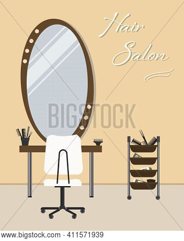 Hairdressing Salon In Yellow. Interior. Hairdresser's Workplace. There Is A Table, A Chair, Mirror,