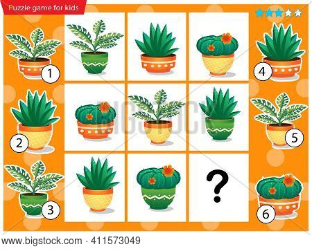 What Item Are Missing? Houseplants Or Indoor Plants. Logic Puzzle Game For Kids. Education Game For