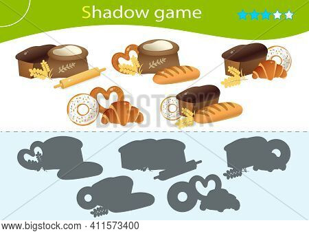 Shadow Game For Kids. Match The Right Shadow. Baked Goods. Bread With Wheat Loaf, Puff Bun, Donut, B
