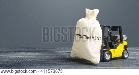 Money Bag With The Word Procurement And Yellow Forklift. Logistics, Warehousing, Transportation Of G