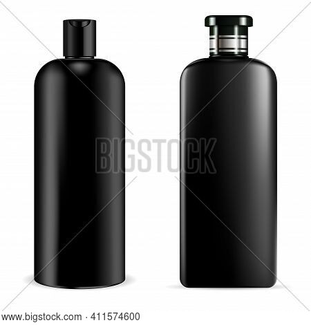 Black Shampoo Bottle. Cosmetic Package Mockup, 3d Illustration. Black Plastic Lotion Container, Liqu